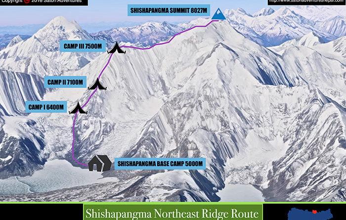 шиша пангма височинни лагери северен маршрут