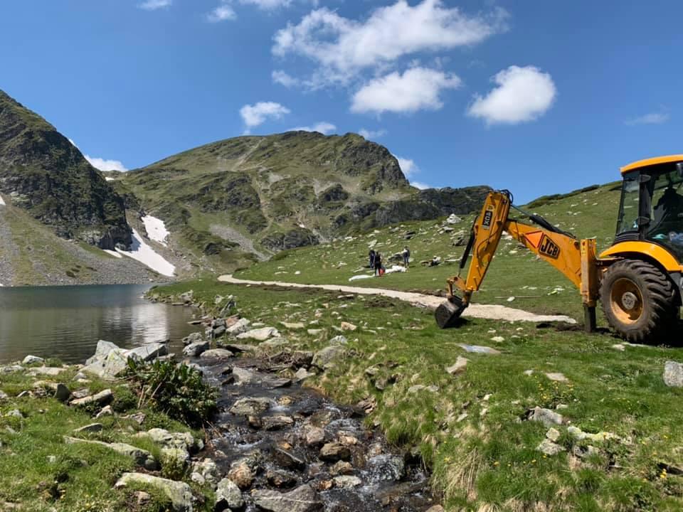 езерото Бъбрека, рилски езера, багер