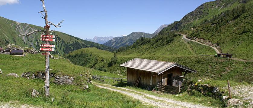 пейзаж от майрхофен, тиролски алпи, австрия