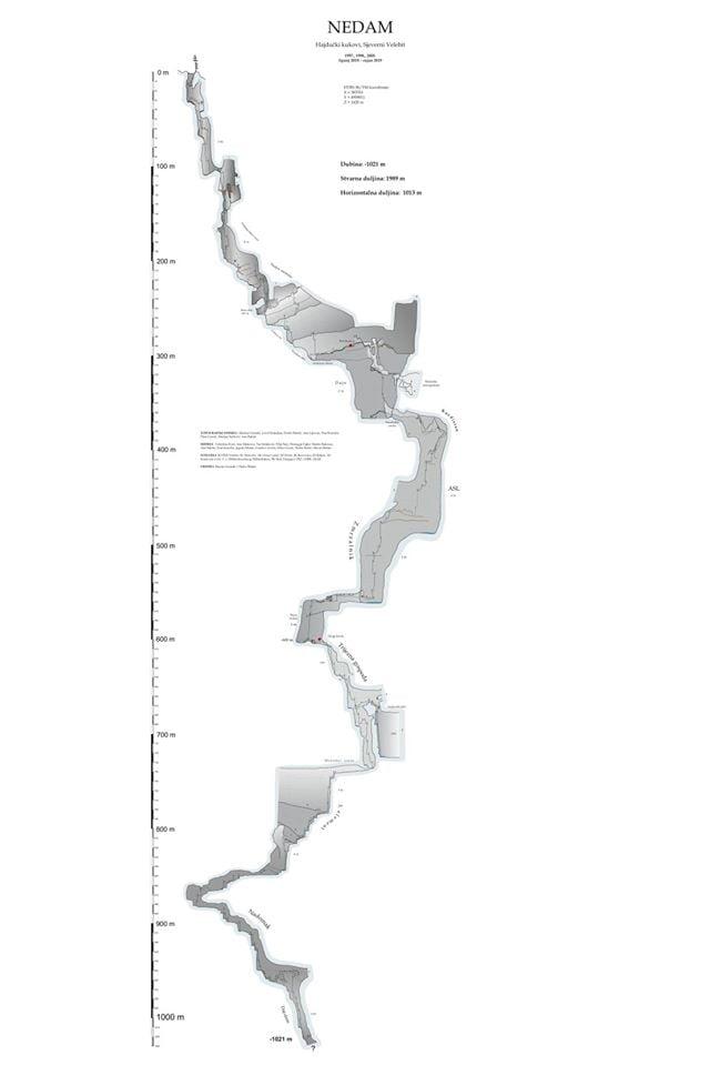 карта пещера Недам, Хърватия